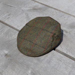 Harris Tweed Flat Cap Dark Green Koedoe & Co top